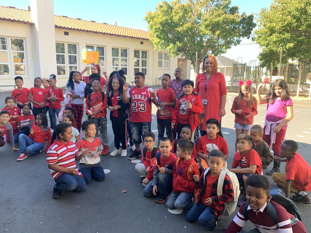 Students wear red